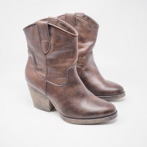 Madden Girl Ramz Booties Brown Western Ankle 6M